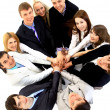 Top view of business with their hands together in a circle — Stock Photo #4430713