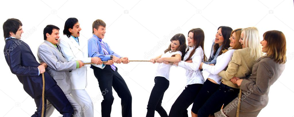 Businesscompetition-Teams struggleing to win — Stock Photo #4430623