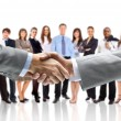 Handshake isolated on business background — Stock Photo #4461653