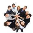 Stock Photo: Top view of business with their hands together in a circle
