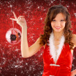 Picture of sexy santa helper with disco ball — Stock Photo