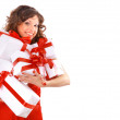foto di allegra santa helper ragazza con scatola regalo — Foto Stock