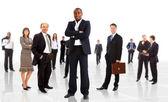 Homem de negócios e sua equipe isolado sobre um background branco — Fotografia Stock