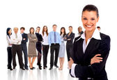 Businesswoman and shis team isolated over a white background — Stock Photo