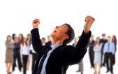 One very happy energetic businessman with his arms raised — Stock Photo