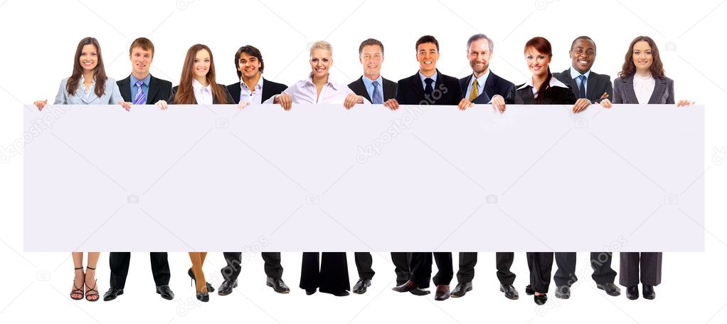 Group of business holding a banner ad isolated on white — Stok fotoğraf #4528998