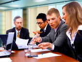 Smiling working sitting at the business meeting in office — Stock Photo
