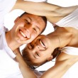 Happy smiling couple in love, over white background — Photo #4659397