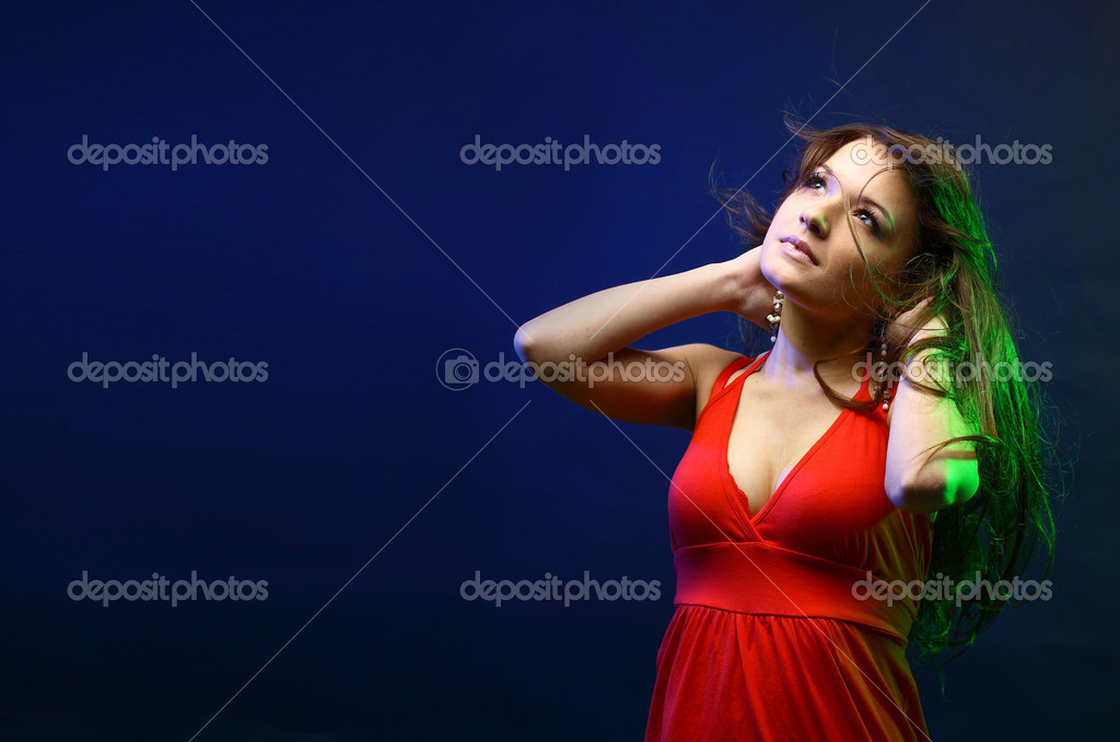 Beautiful lady with long brown hair, at moonlight  — Stock Photo #4659484