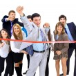 Businesspeople crossing the finish line — Stock Photo #4668622