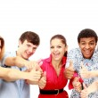Cheerful group of young . Isolated. — Stock Photo