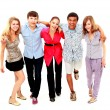Royalty-Free Stock Photo: Cheerful group of young . Isolated.