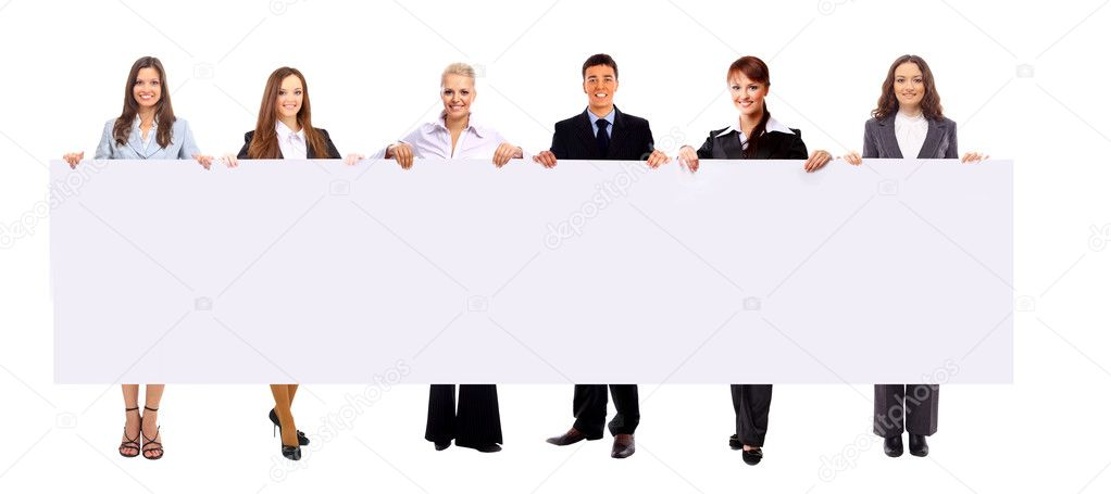 Group of business holding a banner ad isolated on white — Stock Photo #4673181