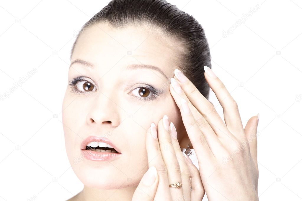 Woman's face with the wrinkles on her forehead — Stock Photo #4758267