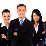 hombre de negocios y su equipo aislado sobre un fondo blanco — Foto de Stock