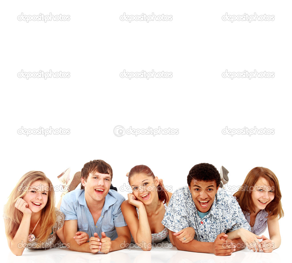 Portrait of laughing young friends having fun    Stock Photo #4813919