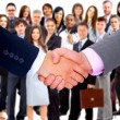 Stock Photo: Handshake isolated on business background