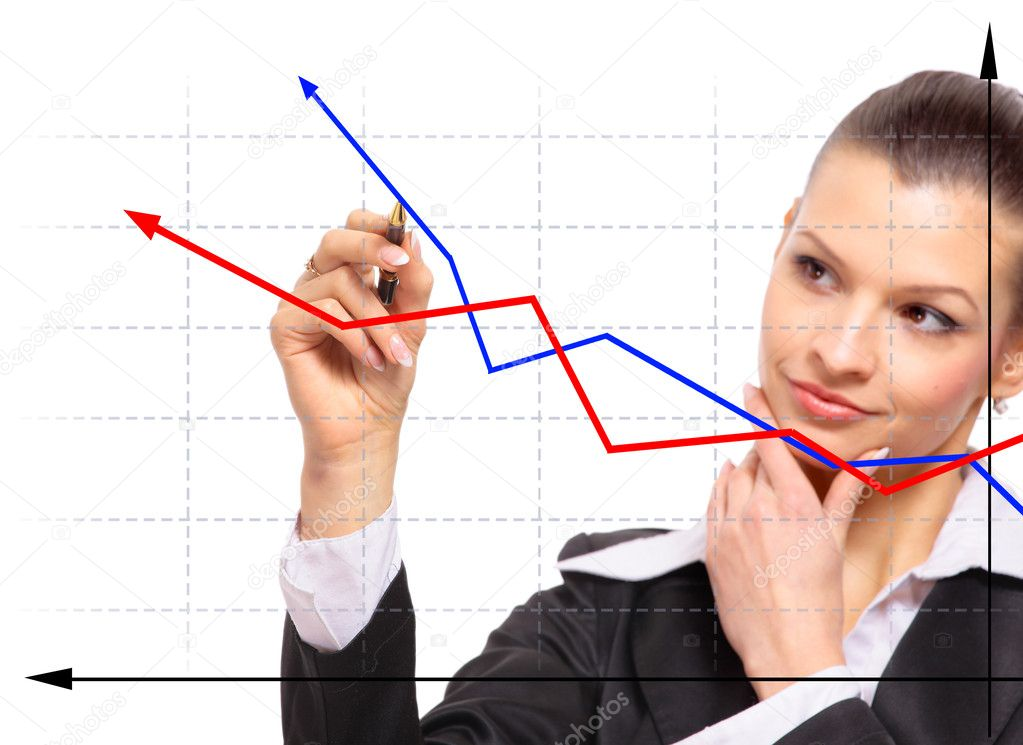Business woman designing a plan on screen — Stock Photo #4824179