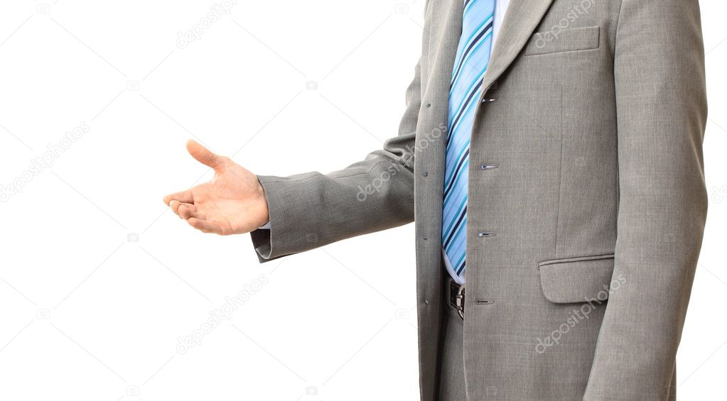 Business man with an open hand ready to seal a deal   Stock Photo #4824652
