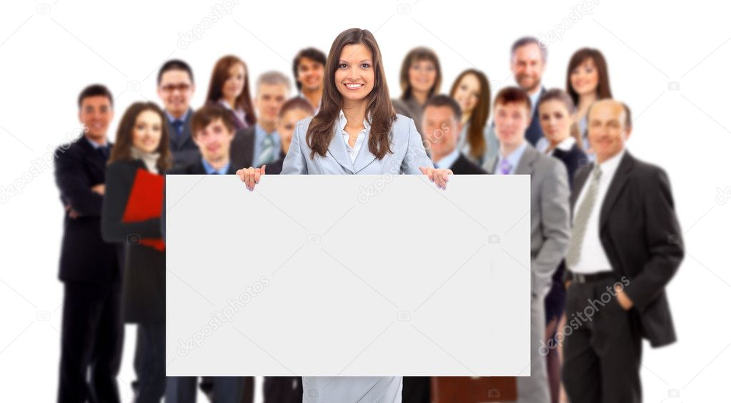 Group of business holding a banner ad isolated on white — Photo #4839354