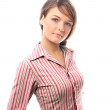 Look at the sale - copy space - isolated woman — Stock Photo