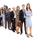 Geschäftsmann und sein Team über einen weißen Hintergrund — Stockfoto