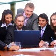 Стоковое фото: Group of happy business in a meeting at office