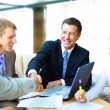 Business shaking hands, finishing up a meeting — Stockfoto