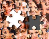 Group of business in pieces of a puzzle — Stock Photo