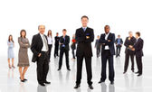 Business man leading a team isolated over a white background — Stock Photo