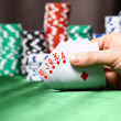 Place a poker player. chips and card — Stock Photo