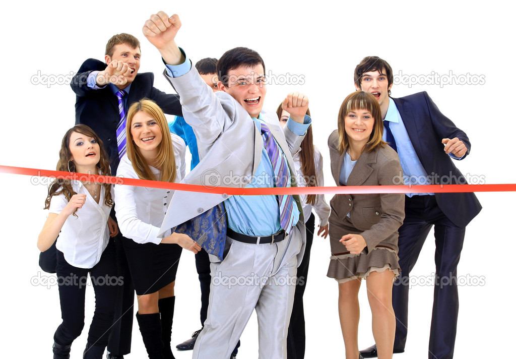 Businesspeople crossing the finish line  — Stock Photo #4909466