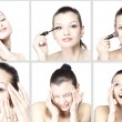 Portrait of attractive young woman applying blusher — Stock Photo