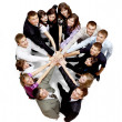 Top view of business with their hands together in a circle - Stok fotoğraf
