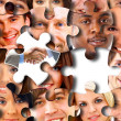 Stock Photo: Abstract puzzle background with one piece missing