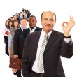 Stock Photo: Businessmisolated on white bacground