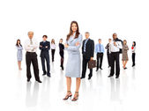 Businesswoman and his team isolated over a white background — Stock Photo