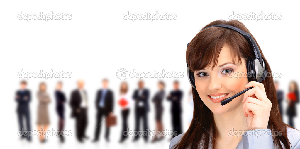 Call center operator with headset and business team  Stock Photo #5062822