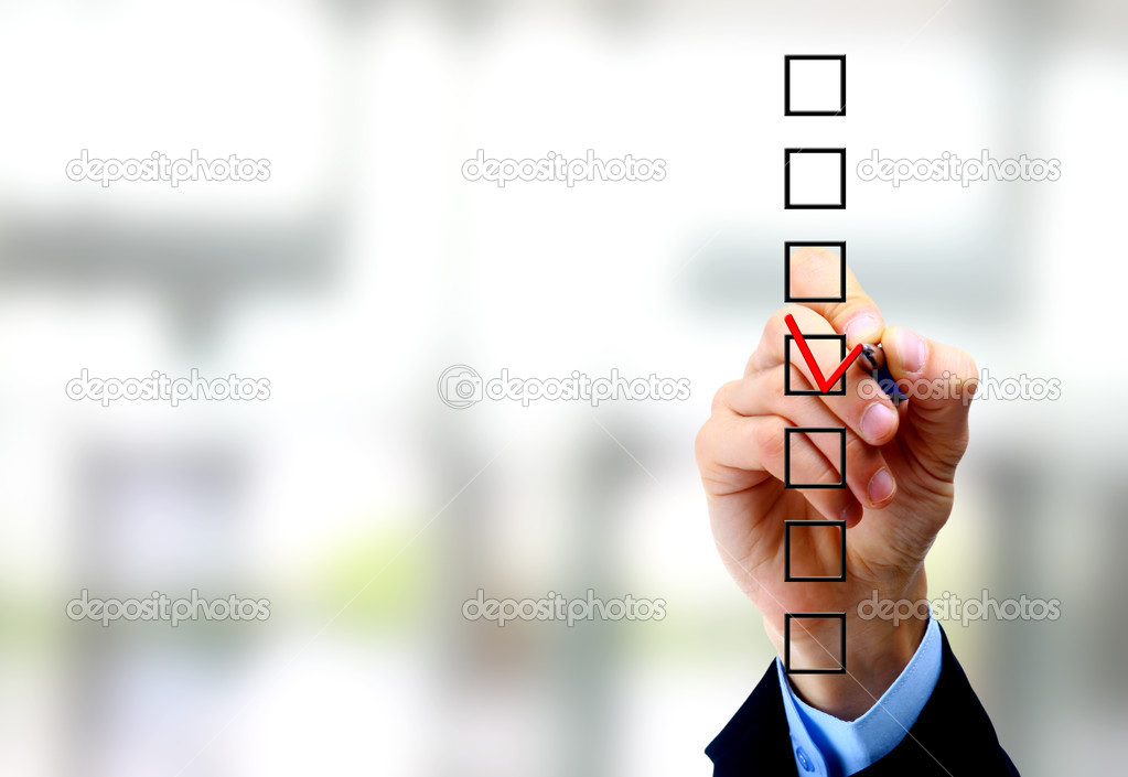 Hand choosing one of three options  — Stock Photo #5109125