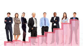 Business team and diagram. Isolated over white background — Foto de Stock
