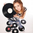 Young girl with retro disk — Stock Photo