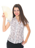 Beautiful woman with japan fan isolated — Stock Photo
