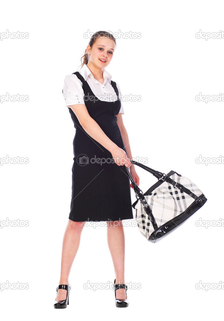 Young pretty woman with handbag isolated on white — Stock Photo #2859960