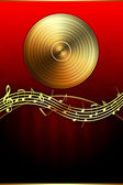 Golden Disc and Music Notes — Stock Photo