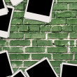 Blank Photos on Brick Background — Stockfoto