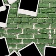 Blank Photos on Brick Background - Stock Photo