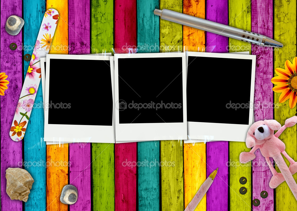Three blank photos on a colorful girlie background — Stock Photo #2911270