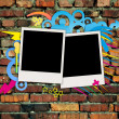 Photos on Graffiti Brick Background — Foto Stock
