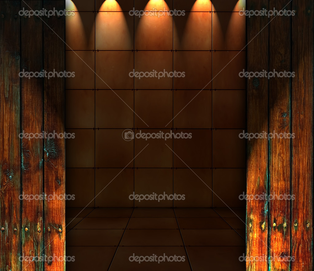 A creative tiled room with spotlights as a background — Stock Photo #3050872