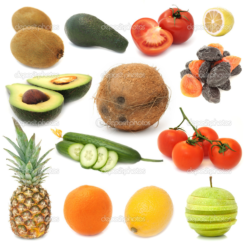 A set of assorted fruits and vegetables (kiwi, avocado, tomatoe, lemon, coconut, prunes, dried apricots, cucumber, pineapple, orange, apple) isolated on white — Stock Photo #3079153